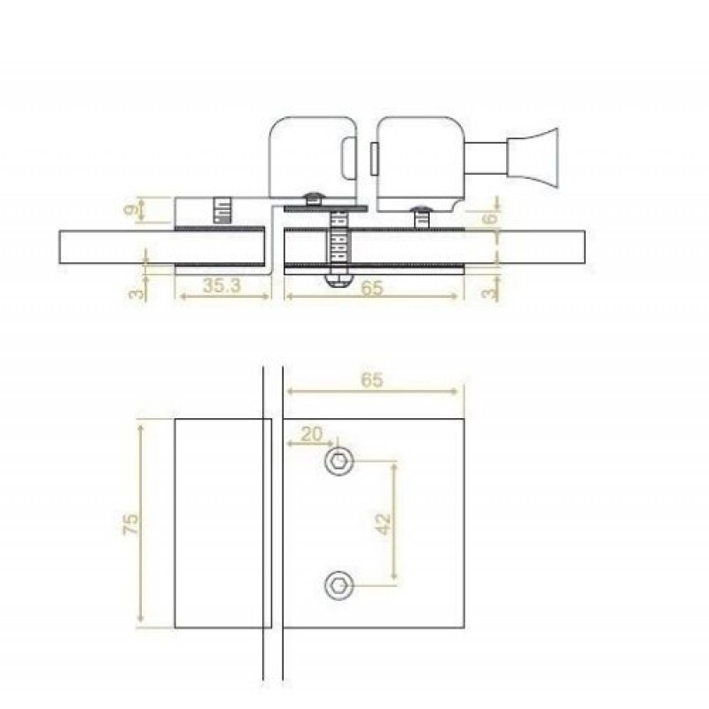 Inline Latch Lock - Glass to Glass with Keys